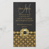 "Black gold damask ""thank you"" thank you card"