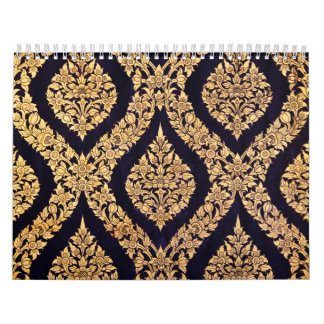 Black & Gold Damask Traditional Contemporary Print Calendar