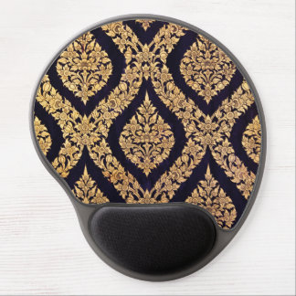 Black & Gold Damask Traditional Contemporary Print Gel Mouse Pad