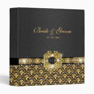 Black gold damask wedding 3 ring binder