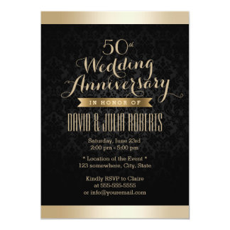 Black & Gold Damask Wedding Anniversary Card