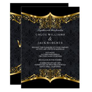 Black Gold Damask Wedding Invitation