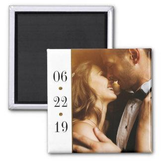 Black & Gold Date   Custom Photo Wedding Magnet