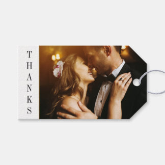 Black & Gold Date | Custom Photo Wedding Thank You Gift Tags