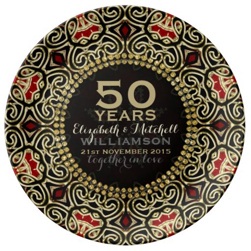 Black Gold Decor Modern Damask 50th Anniversary Dinner Plate