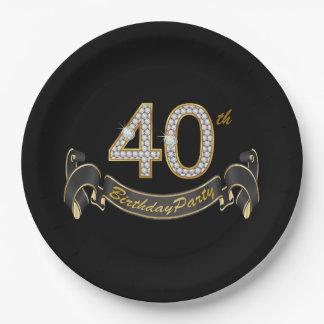 Black Gold Diamond 40th Birthday Party Paper Plate