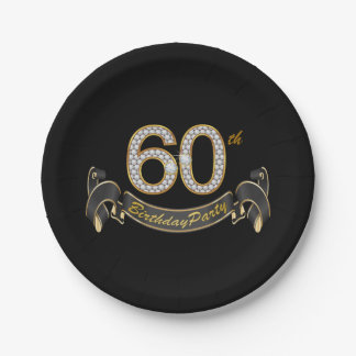 Black Gold Diamond 60th Birthday Party 7 Inch Paper Plate