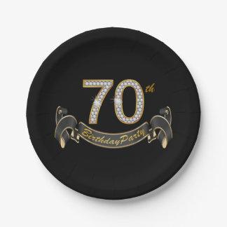 Black Gold Diamond 70th Birthday Party 7 Inch Paper Plate