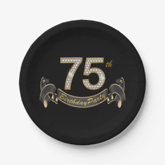 Black Gold Diamond 75th Birthday Party Paper Plate