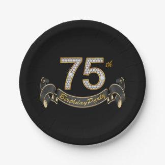 Black Gold Diamond 75th Birthday Party Paper Plate
