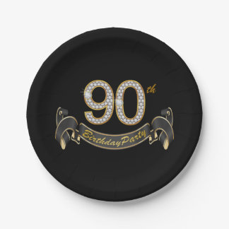 Black Gold Diamond 90th Birthday Party Paper Plate