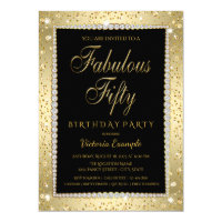 50th birthday invitations zazzle black gold diamond fabulous 50 birthday invitation filmwisefo Choice Image