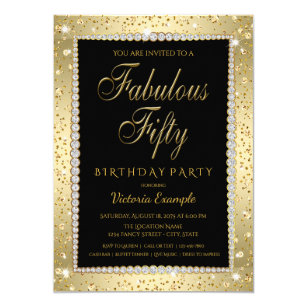 Black Gold Diamond Fabulous 50 Birthday Invitation