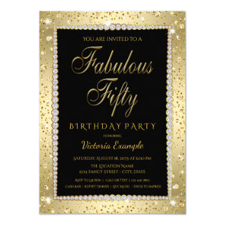 Black Gold Diamond Fabulous 50 Birthday Invitation