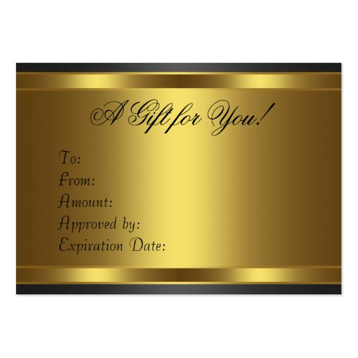 Black Gold Diamond Gold Business Gift Certficate Business Card Template (back side)