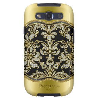 Black Gold & Diamonds 3 Floral Damasks Pattern Samsung Galaxy SIII Covers