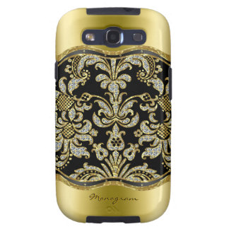 Black Gold & Diamonds 3 Floral Damasks Pattern Galaxy S3 Cover