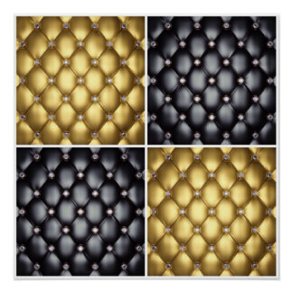 Black Gold Diamonds Collage Pattern Design Poster