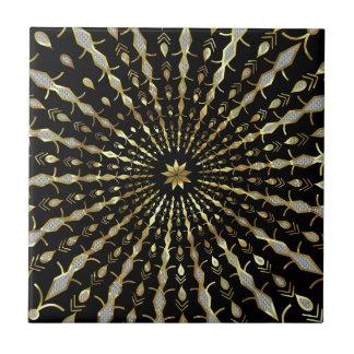 Black Gold & Diamonds Glitter Star Burst Ceramic Tile
