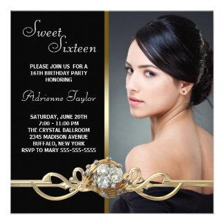 Black Gold Diamonds Photo Sweet Sixteen Birthday Personalized Announcements