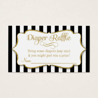 Black Gold Diaper Raffle Cards Boy Baby Shower