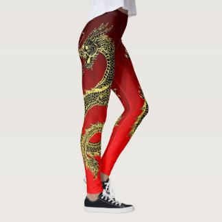 Black Gold Dragons Red Gradient Leggings