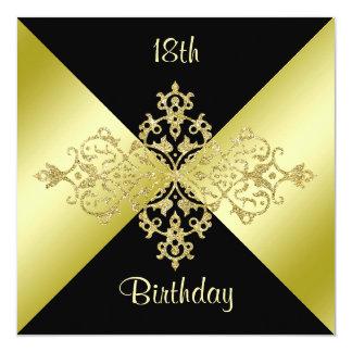 Black & Gold Elegance 18th Birthday Card