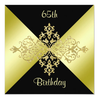 Black & Gold Elegance 65th Birthday Card