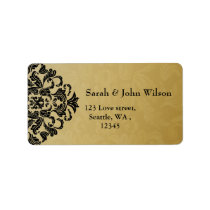 black gold elegance return address label