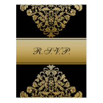 black gold elegance RSVP cards