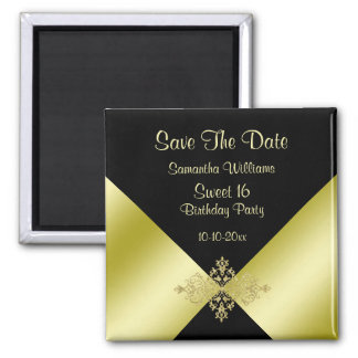 Black & Gold Elegance Sweet 16 Save The Date Magnet