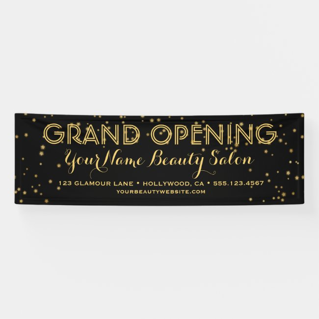 Black Gold Elegant Business Boutique Grand Opening Banner