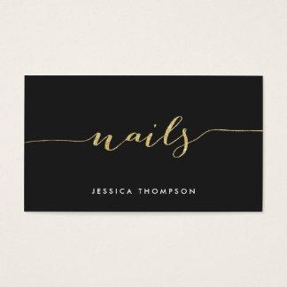 black gold elegant faux glitter stylish nail salon business card - Nail Salon Logo Design Ideas