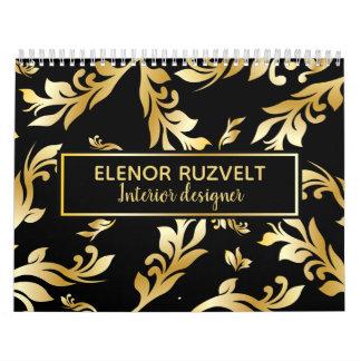 Black gold elegant floral damask Luxe design Calendar