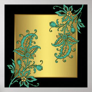 Black Gold Elegant Floral Wall Art Print