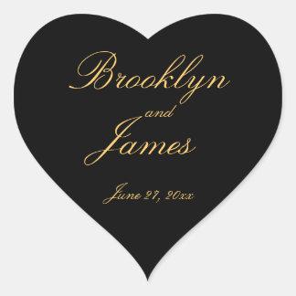 Black Gold Elegant Heart Wedding Stickers