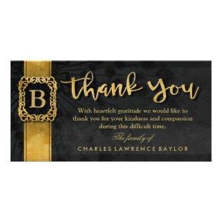 Black & Gold Elegant Monogram Sympathy Thank You