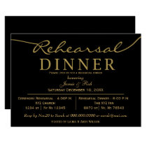 black gold Elegant Script Rehearsal Dinner Invites