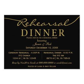 black gold Elegant Script Rehearsal Dinner Invites