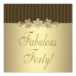 Black Gold Elegant Womans 40th Birthday Party Card