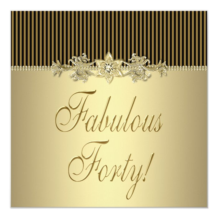 Black Gold Elegant Womans 40th Birthday Party Card
