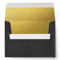 Black Gold Envelope Elegant Modern Birthday