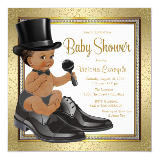 Black Gold Ethnic Little Man Baby Shower Card