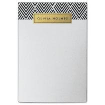 Black & Gold Faux Foil Chevron Pattern Post-it Notes