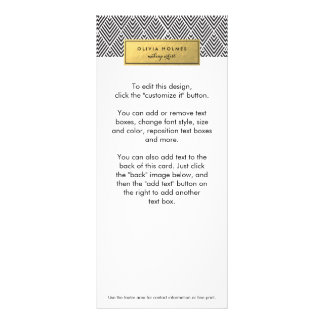 Black & Gold Faux Foil Chevron Rack Card