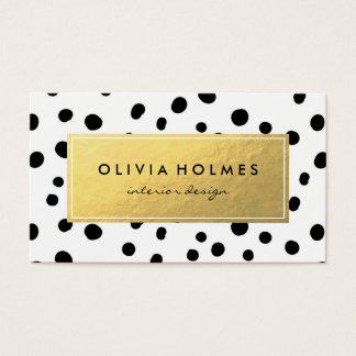 Black & Gold Faux Foil Dot Pattern Business Card