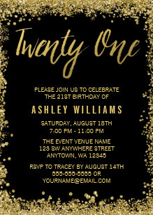 Gold glitter 21st birthday invitations announcements zazzle black gold faux glitter 21st birthday invitations filmwisefo