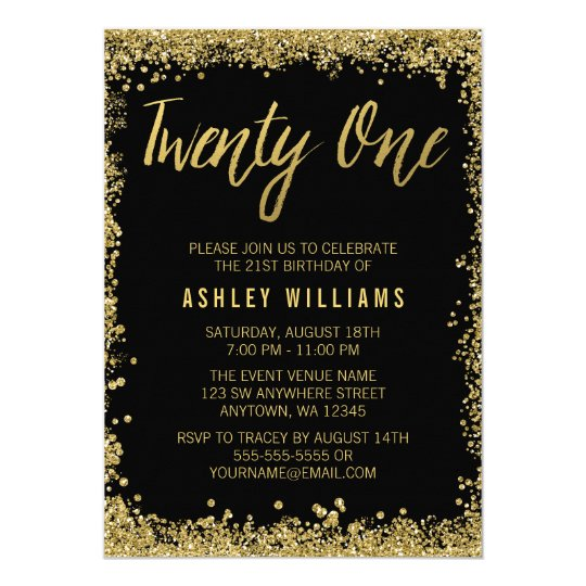 black gold faux glitter 21st birthday invitations | zazzle, Birthday invitations