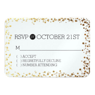 Black Gold Faux Glitter Bokeh RSVP Card
