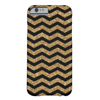 Black Gold Faux Glitter Chevron Barely There iPhone 6 Case